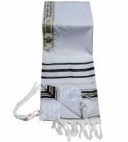 "Tallis Prayer Shawl Acrylic Size 18 Black and Gold Stripes 18"" x 72"""