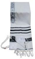 "Tallis Prayer Shawl Acrylic Size 18 Black and Silver Stripes 18"" x 72"""