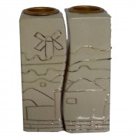 Candle Sticks Jerusalem Cream Outline Design Tall Rectangle Connecting Fit