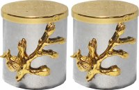 Salt and Pepper Shakers Hammered Silver with Gold Pomegranate Branches 3""