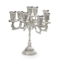 Candelabra 9 Branches Silver Plated Filigree Design 9.5""