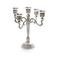 Candelabra 5 Branches Silver Plated Filigree Design 9""