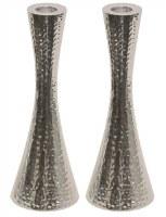 Hammered Nickel Candlesticks Pinched Cylinder Shape