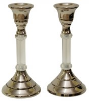 Candlesticks Nickel Plated and Lucite 6""