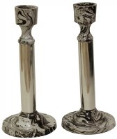 Candlesticks Nickel Plated and Marble Design 6.25""