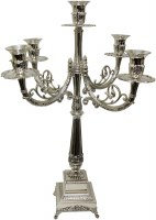 "Silver Plated 3 Branch Candelabra Sleek Layered Square Design 20""H"