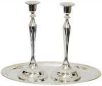Silver Plated Candlesticks with Oval Tray