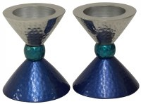 Candlesticks Nickel Plated Hammered Silver Teal and Blue for Tea Lights 3.5""