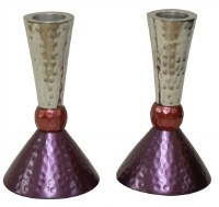 Candlesticks Nickel Plated Hammered Design Silver Pink and Purple 4.75""