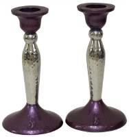 Candlesticks Nickel Plated Hammered Design Purple and Silver 5.25""
