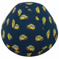 Kippah Yellow School Bus Design Navy Linen 4 Part Size 5