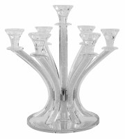 """Crystal Candelabra 7 Branches Light Silver Stones in Stems Round Mirror Base 14"""""""
