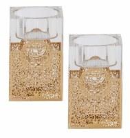 """Crystal Tealight Candle Holder Set Floral Laser Cut Design Gold 3"""""""