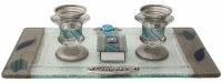 Candlesticks With Tray And Matchbox Small Applique - Ocean Blue With Tulip #LACSSO