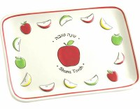 Apple Plate Ceramic Shana Tova Cut Up Apple Design