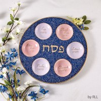 Ceramic Seder Plate Blue with Gold Accents 12""