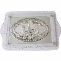 Challah Tray Challah Tray Wood & Silver Plated White #CT19818-W