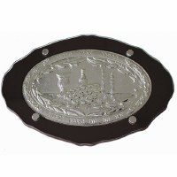 Challah Tray Wood and Silver Plated Shabbos Design