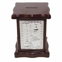 Tzedakah Box Wood & Silver Plated Large Square Shabbos Scene Design 6""