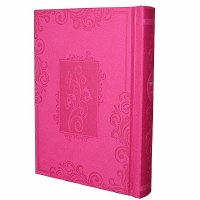 Complete Siddur - Small Sefard Hot Pink Blossoms in Window Frame Hardcover