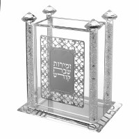Crystal Bencher Holder Decorated with Silver Plaque and Crushed Glass Filled Stems