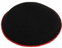 Fine Knit Kippah Serugah DMC 17cm  Black with Red Border