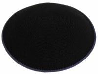 Fine Knit Kippah Serugah DMC 17cm Black with Blue Border