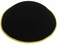 Fine Knit Kippah Serugah DMC 17cm Black with Yellow Border