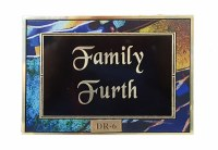 Door Plaque with Customized Family Name Blue Border #DR6