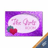 The Girls' Room Door Plaque Purple Sparkle Design