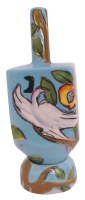 Standing Dreidel on a Stand with Painted Birds and Tree Design