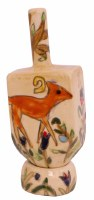 Standing Dreidel on a Stand with Painted Animals Design