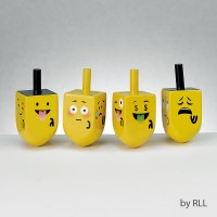 Wooden Dreidels Painted with Emojis - Set of 4