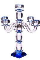 Crystal Candelabra 5 Branches Accentuated with Deep Blue Accents