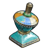 Pewter Dreidel Accentuated With Jewels - Blue Turquoise and Beige