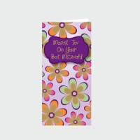 Bat Mitzvah Wallet Greeting Card - Green and Orange Flower Design