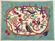 Yair Emanuel Hand Embroidered Afikoman Bag - Birds on Blue