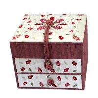 Yair Emanuel Two Drawer Embroidered Jewelry Box - Pomegranate