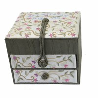 Yair Emanuel Two Drawer Embroidered Jewelry Box - Flowers