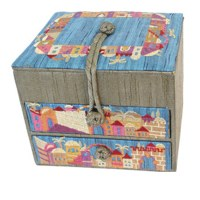 Yair Emanuel Two Drawer Embroidered Jewelry Box - Gold Jerusalem
