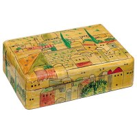 Yair Emanuel Medium Wooden Jewelry Box - Wood Look with Jerusalem
