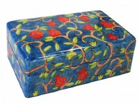 Yair Emanuel Medium Wooden Jewelry Box - Pomegranate