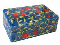 Yair Emanuel Medium Wooden Jewelry Box - Pomegranate