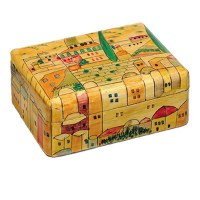 Yair Emanuel Small Wooden Jewelry Box - Wood Look with Jerusalem