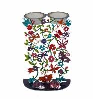 Yair Emanuel Candlesticks Laser Cut Hand Painted Butterfly Motif