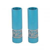 Yair Emanuel Candlesticks Turquoise Round Shaped Metal Pomegranate Design
