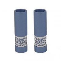 Yair Emanuel Candlesticks Blue Round Shaped Metal Pomegranate Design Accent