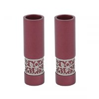 Yair Emanuel Candlesticks Maroon Round Shaped Metal Pomegranate Design Accent
