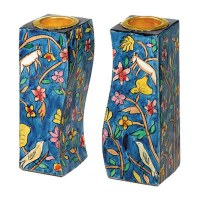 Yair Emanuel Fitted Candle Holders - Flowers and Birds