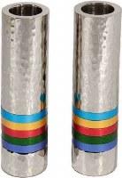 Yair Emanuel Hammered Nickel Cylinder Candlesticks Multicolor Rings